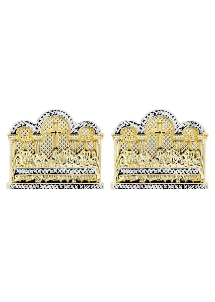 Last Supper 10K Yellow Gold Studs | Appx. Diameter 1.4 Inches