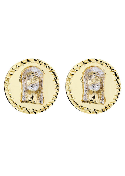 Jesus 10K Yellow Gold Studs | Appx. Diameter 0.75 Inches