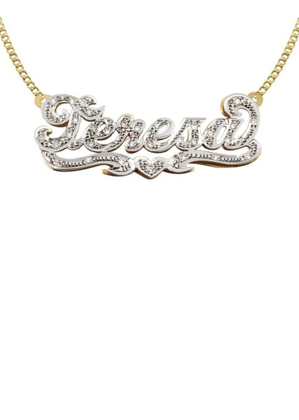 14K Ladies Diamond Cut with Diamonds Name Plate Necklace | Appx. 10.4 Grams
