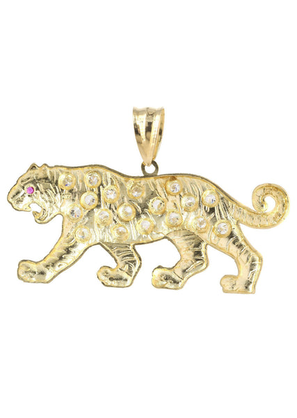 Big Tiger & Cz 10K Yellow Gold Pendant. | 19.1 Grams