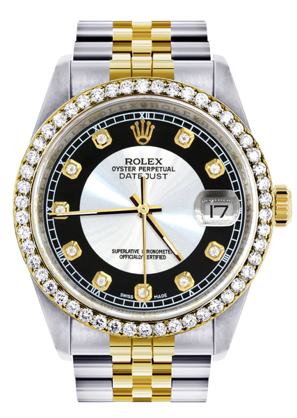 Gold Rolex Datejust Watch 16233 Two Tone for Men | 36Mm | Tuxedo Dial | Jubilee Band