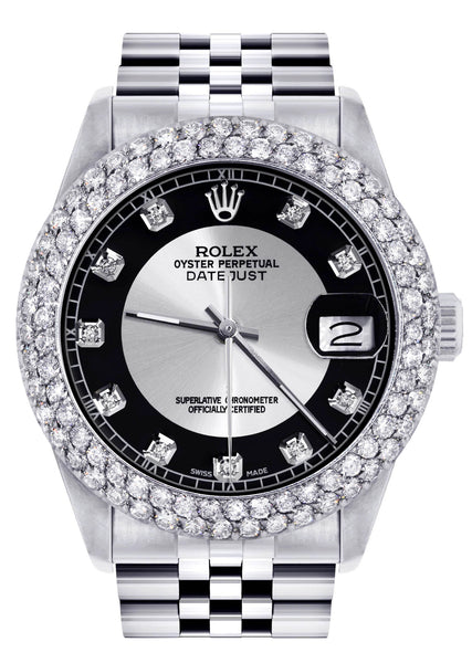 Mens Rolex Datejust Watch 16200 | 36Mm | Tuxedo Dial | Two Row 4.25 Carat Bezel | Jubilee Band