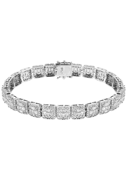 White Gold Plated Iced Out Square Cluster Bracelet