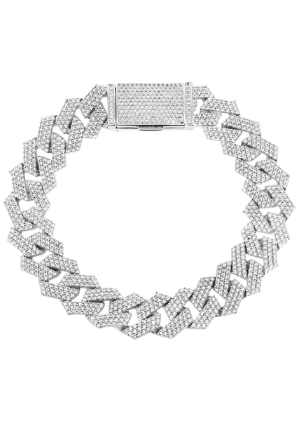 Iced Out White Gold Plated Mens Prong Set Cuban Link Bracelet