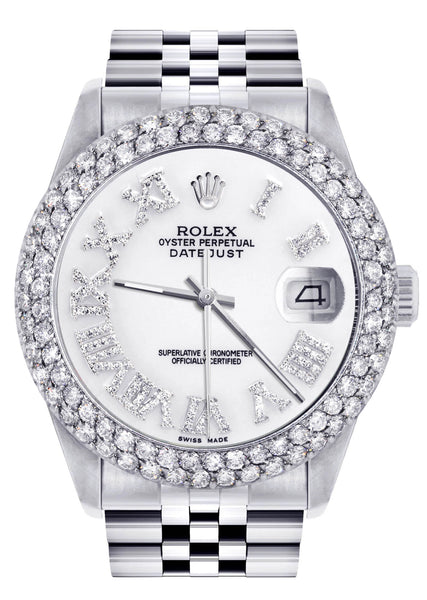 Mens Rolex Datejust Watch 16200 | 36Mm | White Roman Numeral Dial | Two Row 4.25 Carat Bezel | Jubilee Band