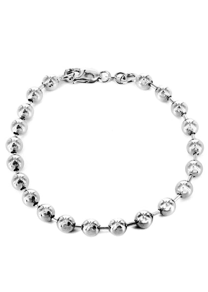 Mens Dog Tag Bracelet 10K White Gold