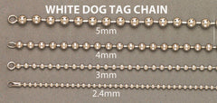 Mens Dog Tag Chain 10K White Gold