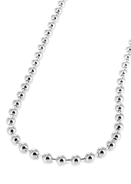 Womens 14K White Gold Chain - White Dog Tag Chain