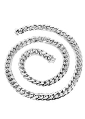 14K White Gold Chain - Hollow Miami Cuban Link Chain MEN'S CHAINS FROST NYC