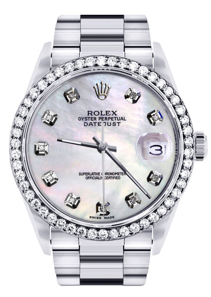 Diamond Mens  Rolex Datejust Watch 16200 | 36Mm | White Mother Of Pearl Dial | Oyster Band