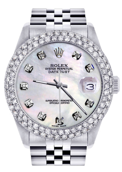 Mens Rolex Datejust Watch 16200 | 36Mm | White Mother of Pearl Dial | Two Row 4.25 Carat Bezel | Jubilee Band