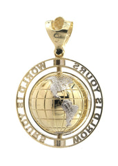 Large World Is Mine Pendant 10K Yellow Gold | 35 Grams FrostNYC