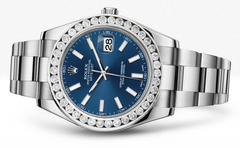 Rolex Datejust Ii Blue Dial - Index Hour Markers With 5 Carats Of Diamonds WATCHES FROST NYC