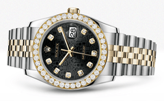 Rolex Datejust Black Jubiliee Dial - Diamond Hour Markers With 4 Carats Of Diamonds