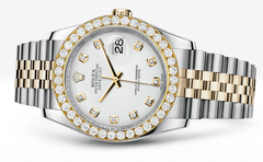 Rolex Datejust White Dial - Diamond Hour Markers With 4 Carats Of Diamonds WATCHES FROST NYC