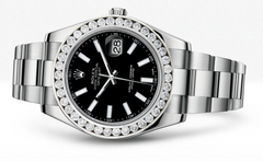 Rolex Datejust Ii Black Dial -  Index Hour Markers With 5 Carats Of Diamonds