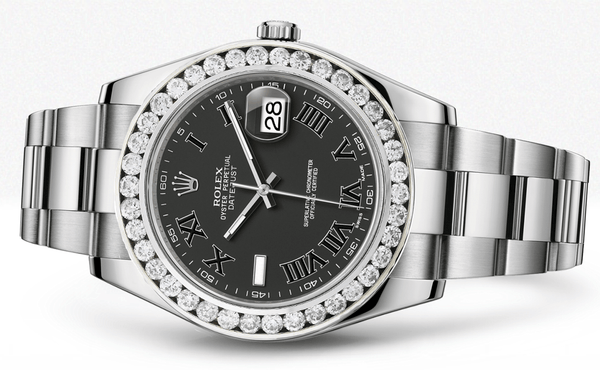 Rolex Datejust Ii Black Dial - Black Roman Numbers With 5 Carats Of Diamonds