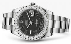 Rolex Datejust Ii Black Dial - Black Roman Numbers With 5 Carats Of Diamonds WATCHES FROST NYC
