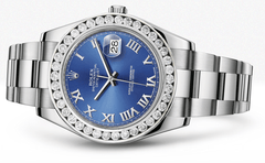 Rolex Datejust Ii Blue Dial - Roman Numerals With 5 Carats Of Diamonds WATCHES FROST NYC