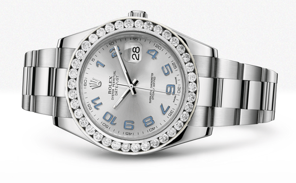 Rolex Datejust Ii Grey Dial - Blue Arabic Numberals With 5 Carats Of Diamonds
