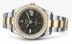 Rolex Datejust Ii Black Dial - Black And Gold Roman Numerals With 5 Carats Of Diamonds