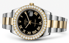 Rolex Datejust Ii Black Dial - Gold Roman Numerals With 5 Carats Of Diamonds WATCHES FROST NYC