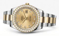Rolex Datejust Ii Champagne Dial - Diamond Hour Markers With 5 Carats Of Diamonds