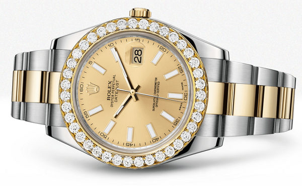 Rolex Datejust Ii Champagne Dial - Index Hour Markers With 5 Carats Of Diamonds