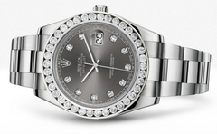 Rolex Datejust Ii Rhodium Dial - Diamond Hour Markers With 5 Carats Of Diamonds WATCHES FROST NYC