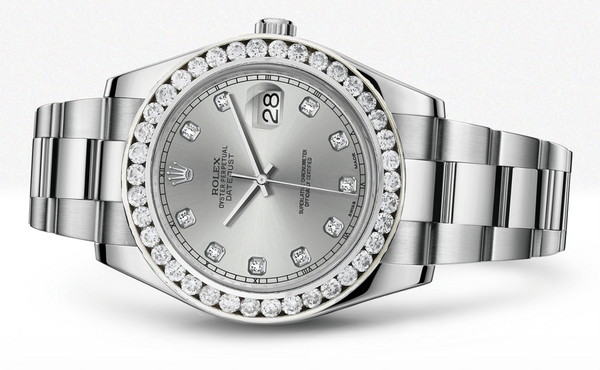Rolex Datejust Ii Silver Dial - Diamond Hour Makers With 5 Carats Of Diamonds