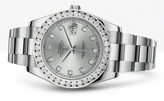 Rolex Datejust Ii Silver Dial - Diamond Hour Makers With 5 Carats Of Diamonds WATCHES FROST NYC