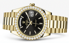 Rolex Day Date 40 Presidential Black Diagonal Motif Dial - Index Hour Markers With 4 Carats Of Diamonds WATCHES FROST NYC