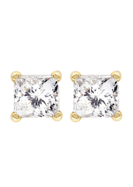 Princess Cut Diamond Stud Earrings For Men | 14K Yellow Gold | 0.97 Carats