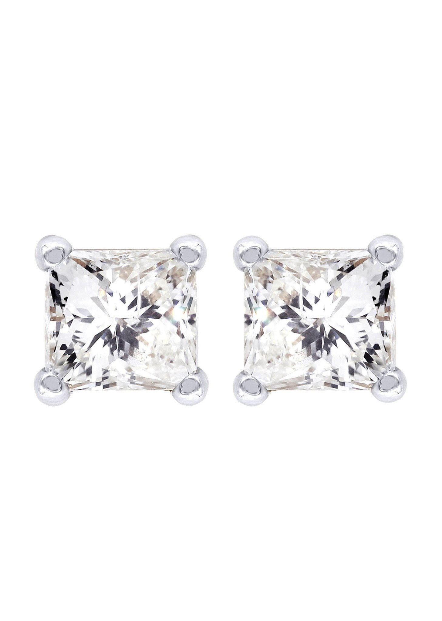 Princess Cut Diamond Stud Earrings For Men 14k White