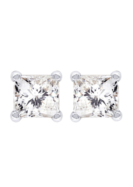 Princess Cut Diamond Stud Earrings For Men | 14K White Gold | 0.45 Carats