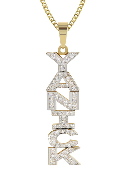14K Ladies Vertical with Diamonds Name Plate Necklace | Appx. 12.9 Grams