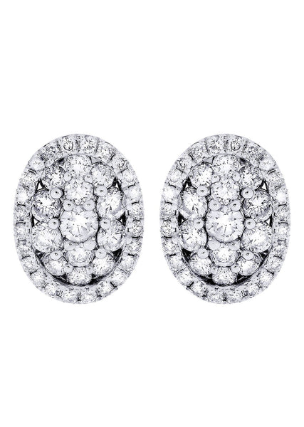 Stud Diamond Earrings For Men Illusion Set | 14K White Gold | 0.99 Carats