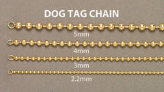 Mens Dog Tag Chain 10K Yellow Gold