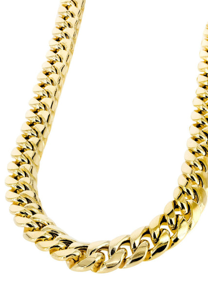 Womens 14K Gold Chain - Hollow Yellow Miami Cuban Link Chain