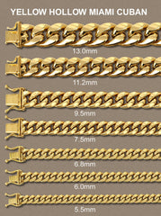 14K Gold Chain - Hollow Yellow Miami Cuban Link Chain MEN'S CHAINS FROST NYC
