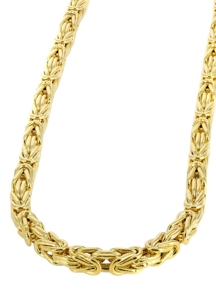 Womens 14K Gold Chain -Solid Byzantine Chain