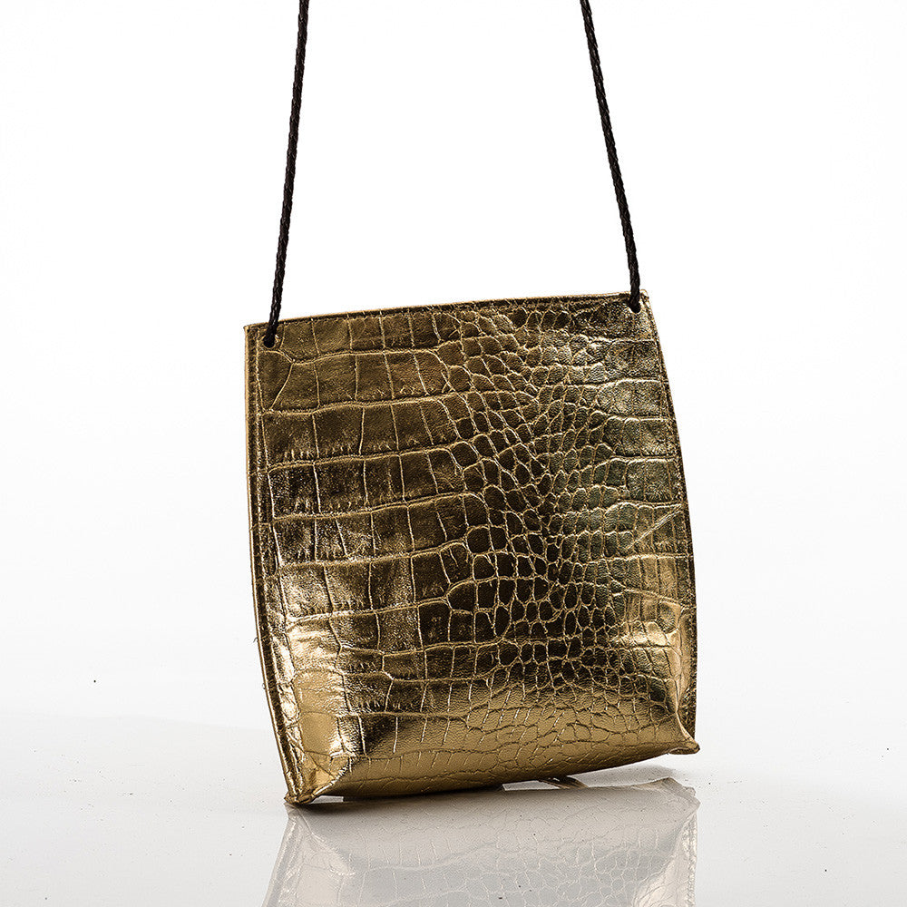 Shiny Happy Gold Leather Stamped Crocodile Cross Body by GaBaG.Co