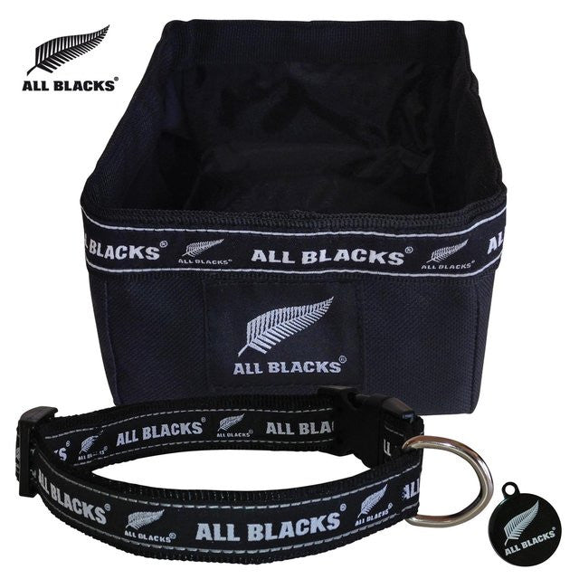 ALL BLACKS Supporter Set - Dog Collar, Bowl & Tag in Black