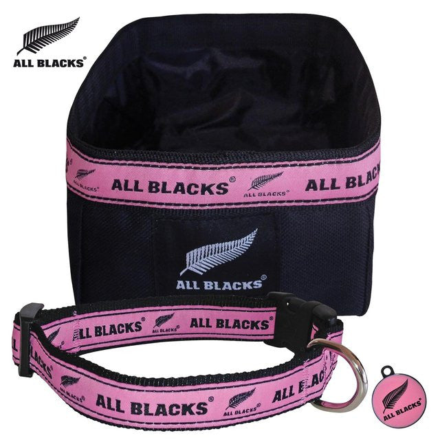 ALL BLACKS Supporter Set - Dog Collar, Bowl & Tag in Sporty Pink