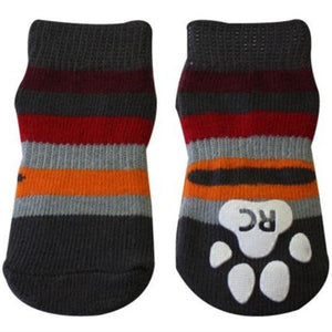 Pawks Anti-Slip Dog Socks in Grey Stripes