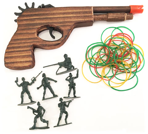 Wooden Rubber Band Gun Red Bat Enforcer Pistol with Extra Rubber Bands Ammo and Army Men Targets