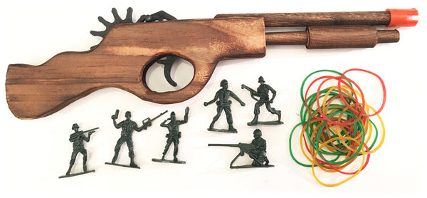 Wooden Rubber Band Gun Black Bear Destroyer Shotgun with Extra Rubber Bands Ammo and Army Men Targets