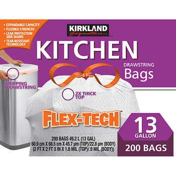 Kirkland Signature Flex-Tech 13-Gallon Kitchen Trash Bag