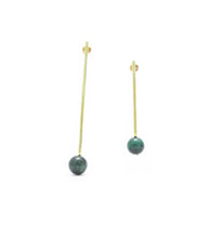 Pendulum Earrings - Green Tigers eye