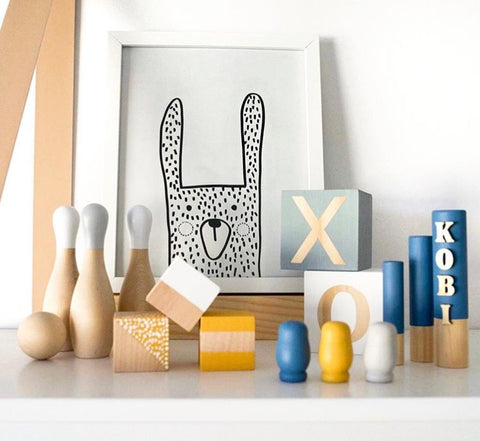 """Oliver the bunny"" downloadable printable by One Tiny Tribe. Great for woodland nursery or kids room. Buy and download instantly at www.onetinytribe.com"
